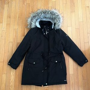 Hurley Insulated Black Parka With Faux Fur Hood